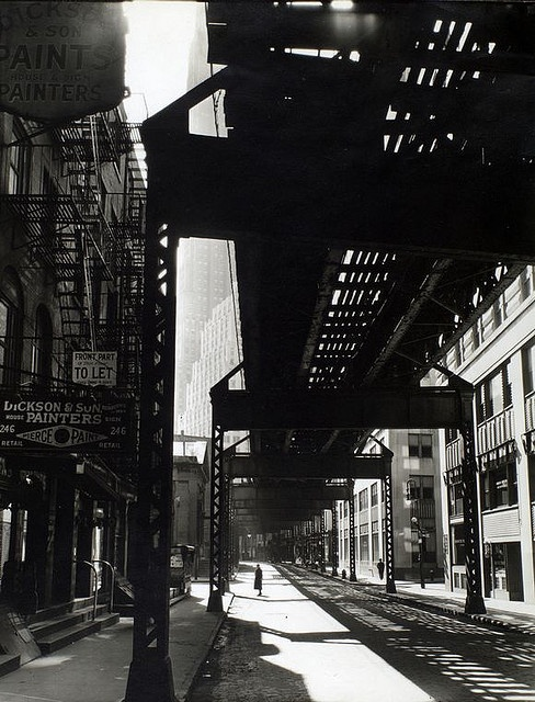 """el"" 2nd and 3rd ave lines nyc 1936 : berenice abbott"