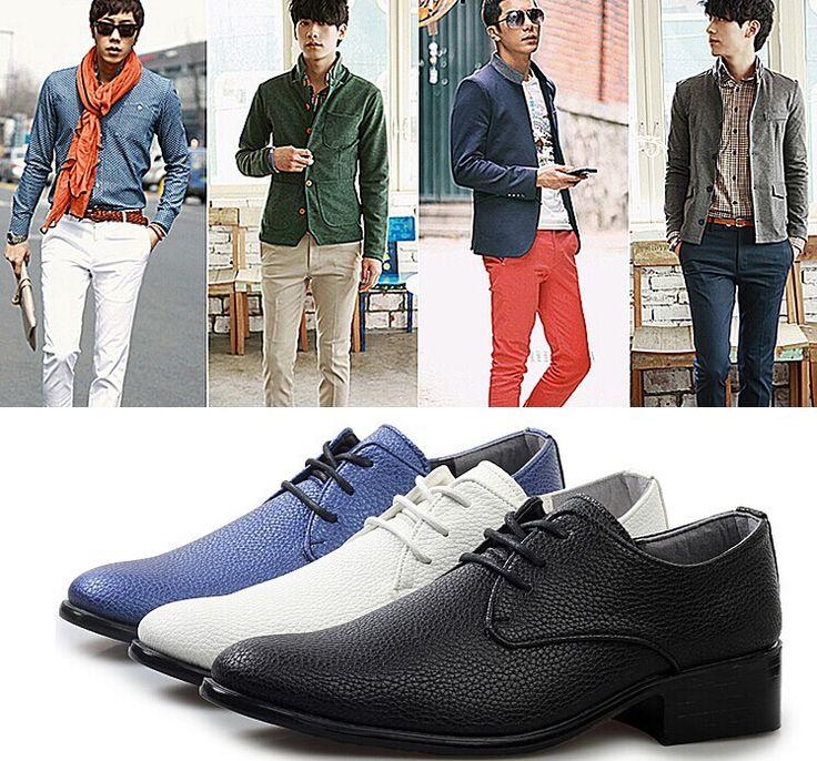 Высокое качество кожи мужские ботинки платья чистый голубой и белый и черный цвет классический корейский стиль мягкие кожаные ботинки для человека дешевой