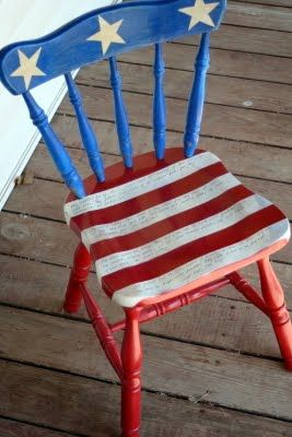 With a little paint and a fun Saturday afternoon, you can prep these chairs for your 4th Party. -- patriotic chair