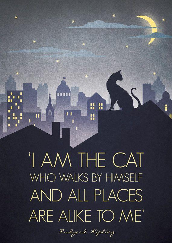Original Design Art Deco Bauhaus A3 Poster Print Vintage 1930's Cat Fashion Vogue 1940's Rudyard Kipling Quote City Cityscape