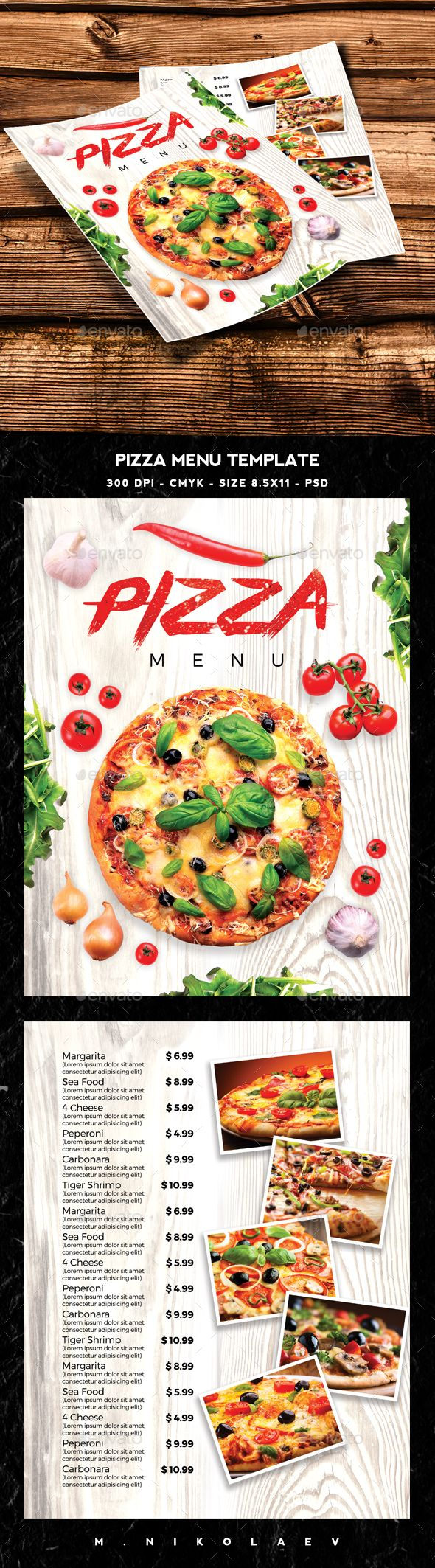 Pizza Menu Template PSD. Download here: http://graphicriver.net/item/pizza-menu-template/15435424?ref=ksioks