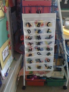 Easy way to store letter magnets so that they are on hand and organized for word work