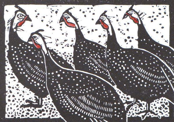 Five Guineas - linocut with watercolor - Nancy Darrell.