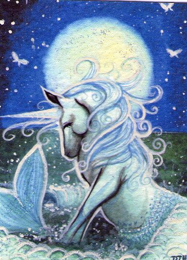 Mermaid Unicorn ACEO Art Print Hand Embellished via Etsy