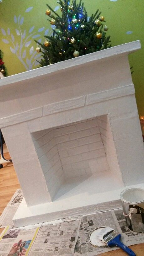 A fireplace made out of cardboard...