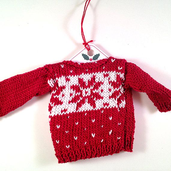 Knitting Patterns For Christmas Sweaters : Christmas Sweater Ornament Knitting Pattern - Fair Isle set