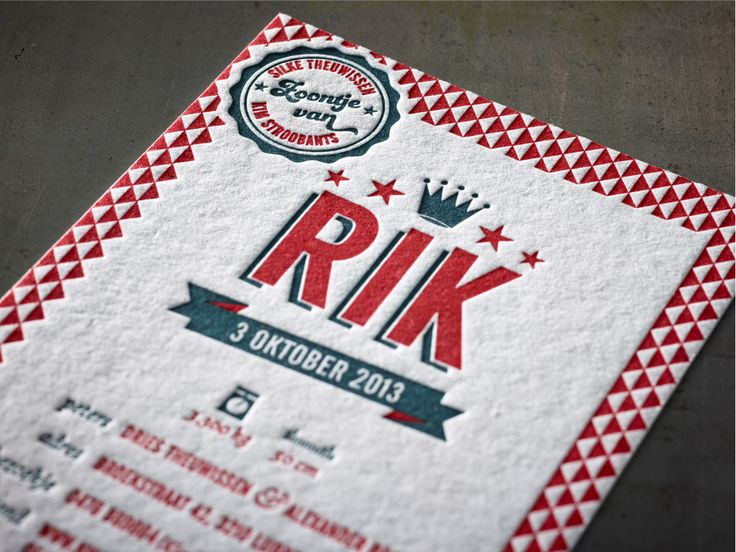 Birth Announcement Card RIK  -  Design by Silke Theuwissen -  Letterpress 2 colors - Macho Mick 470gr printed by www.letterpressgust.com