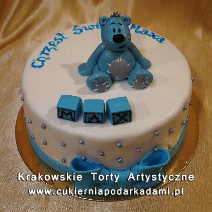 050. Tort z niebieskim misiem na chrzciny. Cake with blue teddy bear for baptism.