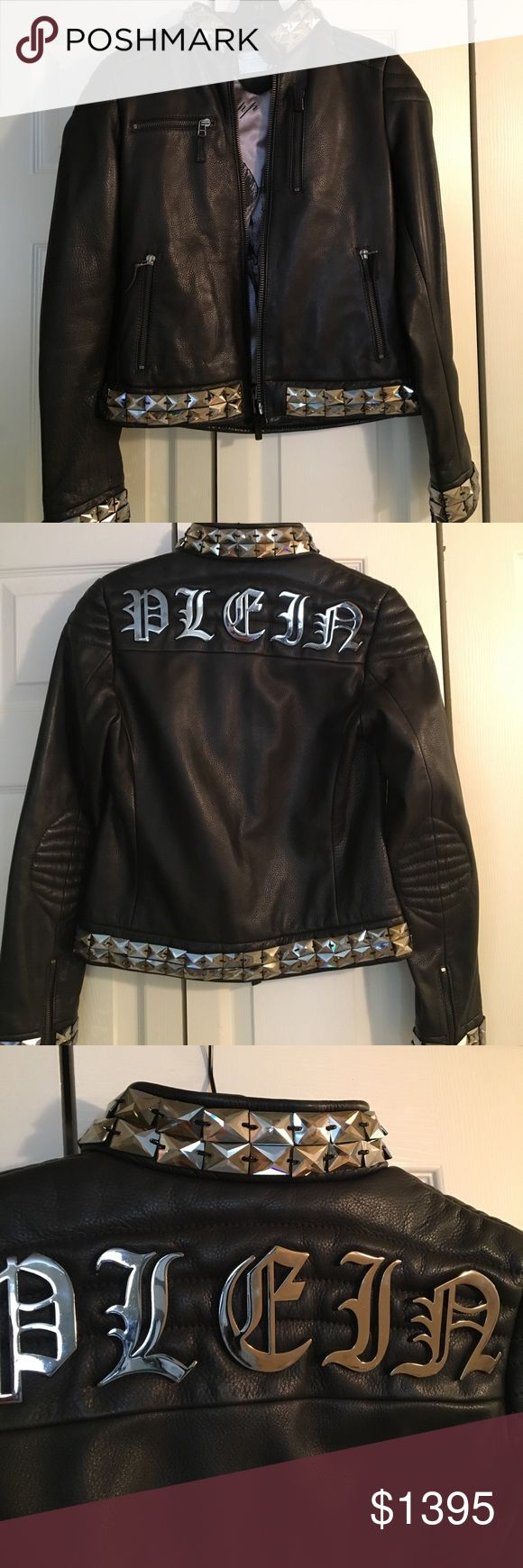 Authentic Philipp Plein Black leather jacket This Philipp Plein leather jacket has been worn twice. All Swarovski crystals around collar and wrists with zipper details. Absolutely gorgeous was $5500 now asking $1395 OBO but please be reasonable. Philipp Plein Jackets & Coats
