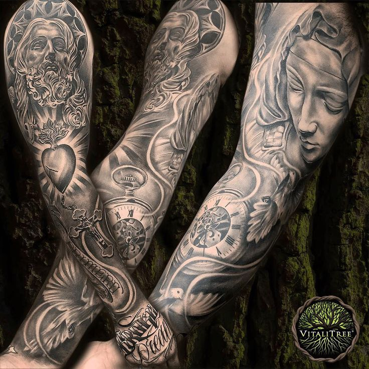 """F is to Friday as F is to #FullSleeve! This beauty was fairly recently completed by Texas-based tattoo artist @mike_cruz87. As you can see, it's A LOT of high quality sleeve action to attempt capturing in a single image! From left to right, starting with a look at the full arm from the outside. The center photo is with the arm slightly rotated out. On the far right is the arm rotated out showing the inside of the sleeve. Atop of the hand is script that reads """"Broken Dreams""""... There is SO…"""