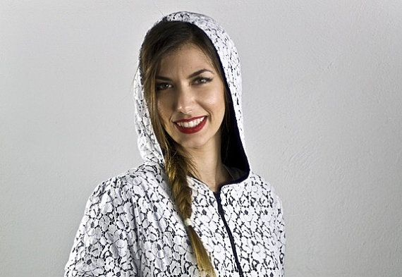 Black and white lace zip-up hoodie by Lovecuts2013 on Etsy