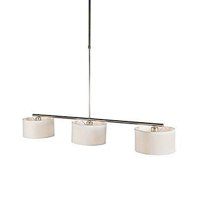 QAZQA 75€ - dimmbar- Modern Esstisch / Esszimmer / Pendelleuchte / Pendellampe / Hängelampe / Lampe / Leuchte VT 3-flammig rund weiß / Innenbeleuchtung / Wohnzimmer / Küche Metall / Textil / Länglich LED geeignet E27 Max. 3 x 60 Watt