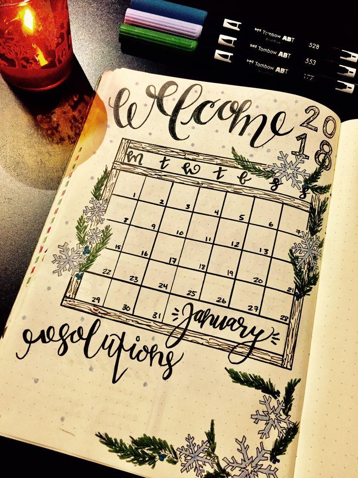January 2018 Bullet Journal Calendar