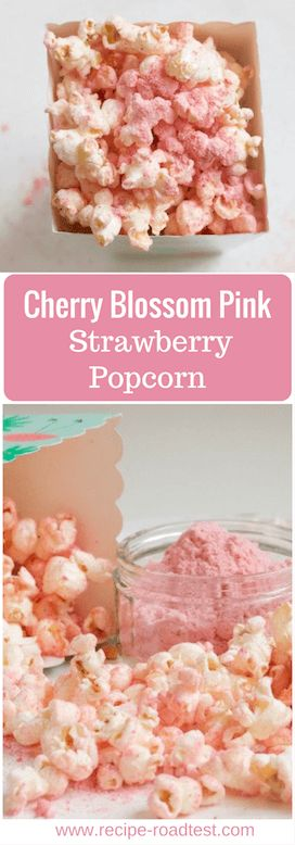 APerfect popcorn for a pink theme or Hanami party - this Strawberry popcorn looks like little pink cherry blossoms and tastes like sweet zingy strawberries! Get the recipe at http://www.recipe-roadtest.com/recipe/cherry-blossom-pink-strawberry-popcorn/