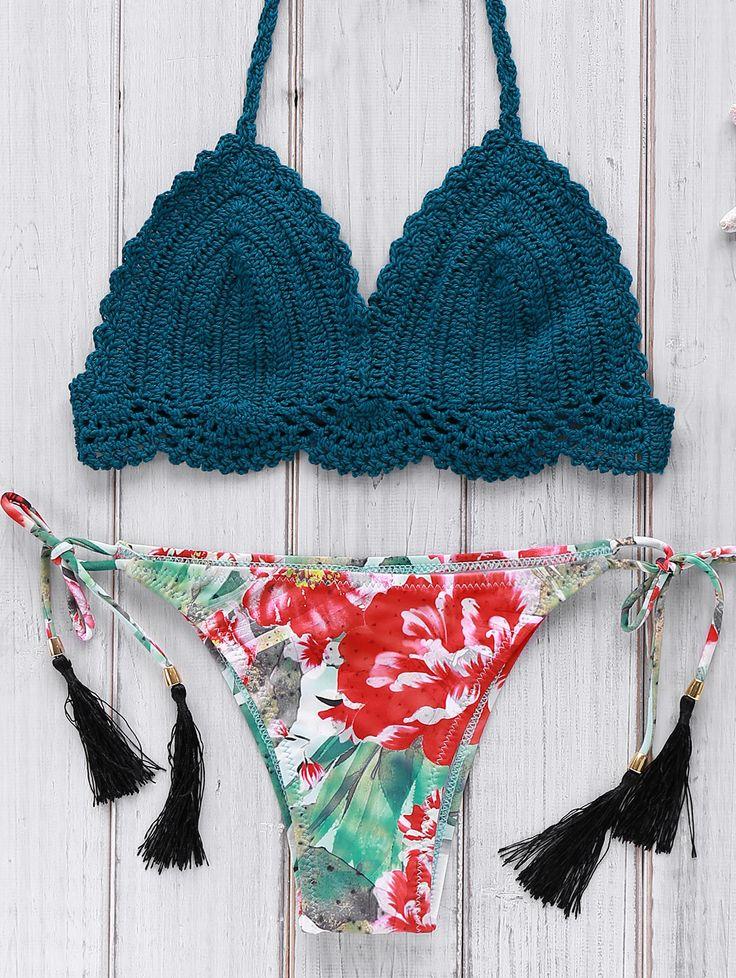Crocheted Halter Printed Bikini Set