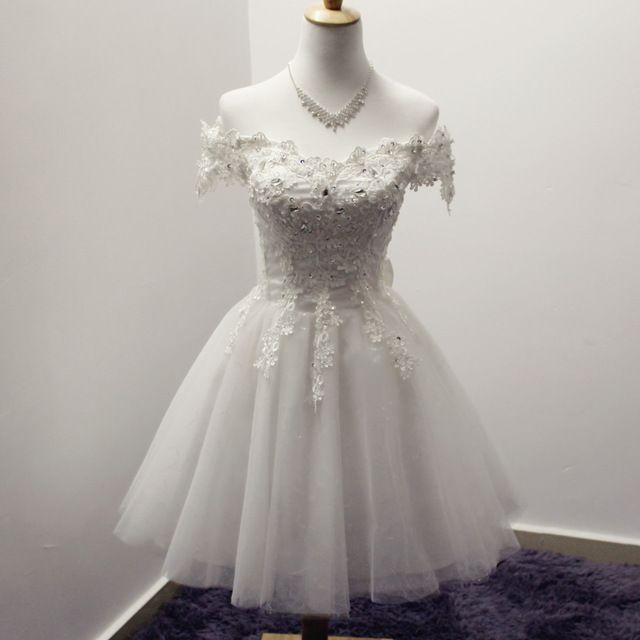 Branco Vermelho Apliques Fora do Ombro vestido de Baile Curto de Dama de Honra Vestidos de 2016 Venda Quente Do Casamento Vestido de Festa Com Arco R073