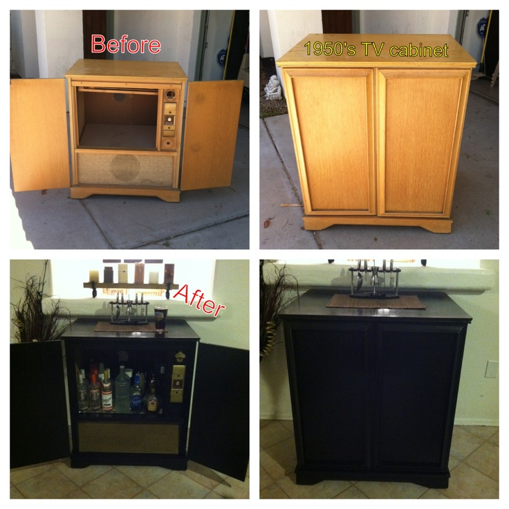 Renovated 1950 39 s tv cabinet into home bar bar diy homebar 1950stvcabinet revovate kcco Home bar furniture with kegerator