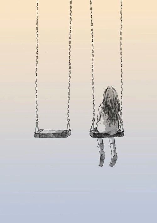 alone, drawing, and swing Bild