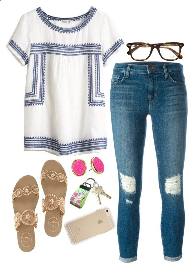 back to school outfit idea: embroidered top by jordanawarren ❤ liked on Polyvore featuring Madewell, J Brand, Jack Rogers, Lilly Pulitzer, Kate Spade and Ray-Ban