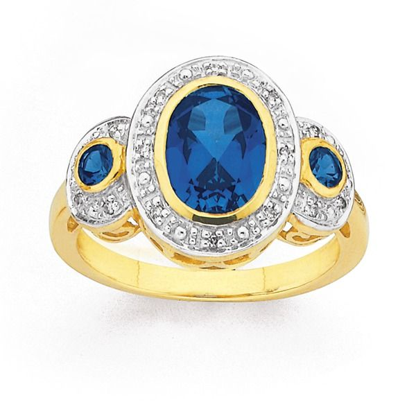 9ct Gold Created Sapphire & Diamond Oval Cut Trilogy Ring