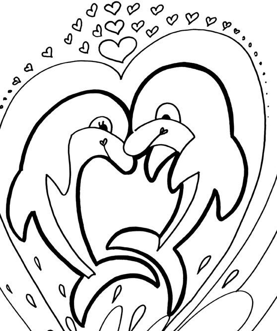 Two Dolphins Strong And Funny Coloring Pages For Kids Printable