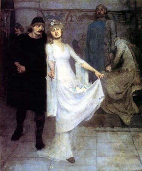 Laertes and Ophelia by Maurice William Greiffenhagen :: artmagick.com