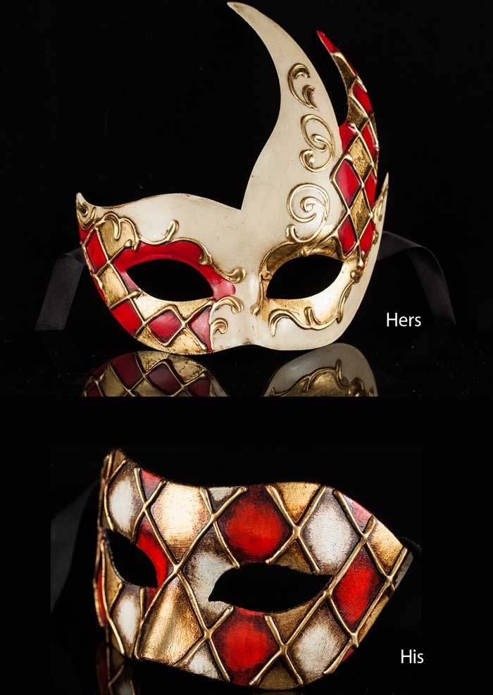 e4b8fe7f80a6 Beautiful pair of matching Venetian masquerade masks - lovely combination  of Italian design! | Wearable Venetian Masquerade Masks | Venetian  masquerade ...