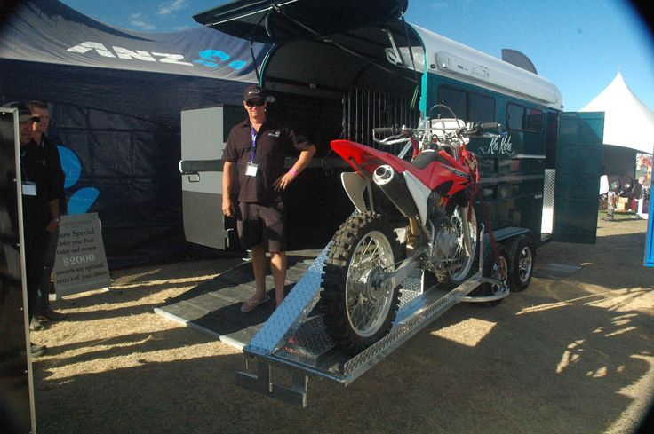 Cool innovation from Thoroughbred Floats and the man who invented it - take the motorbike away with you on your float! NZ made. http://www.equinetrader.co.nz/directory/thoroughbredhorsefloats/