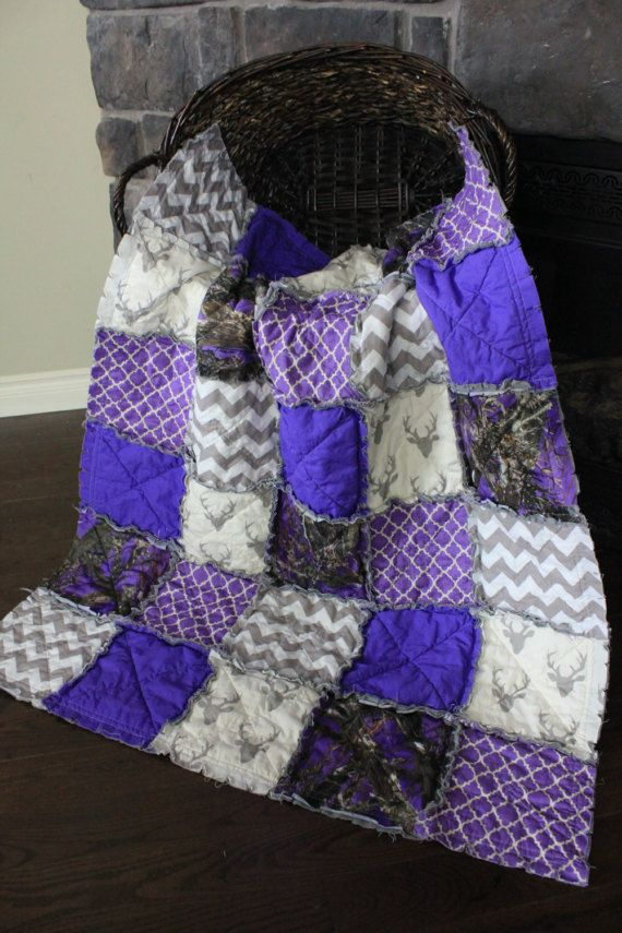 Baby Girl Rag Quilt Purple Camo Baby QuiltGrey by RozonsRags