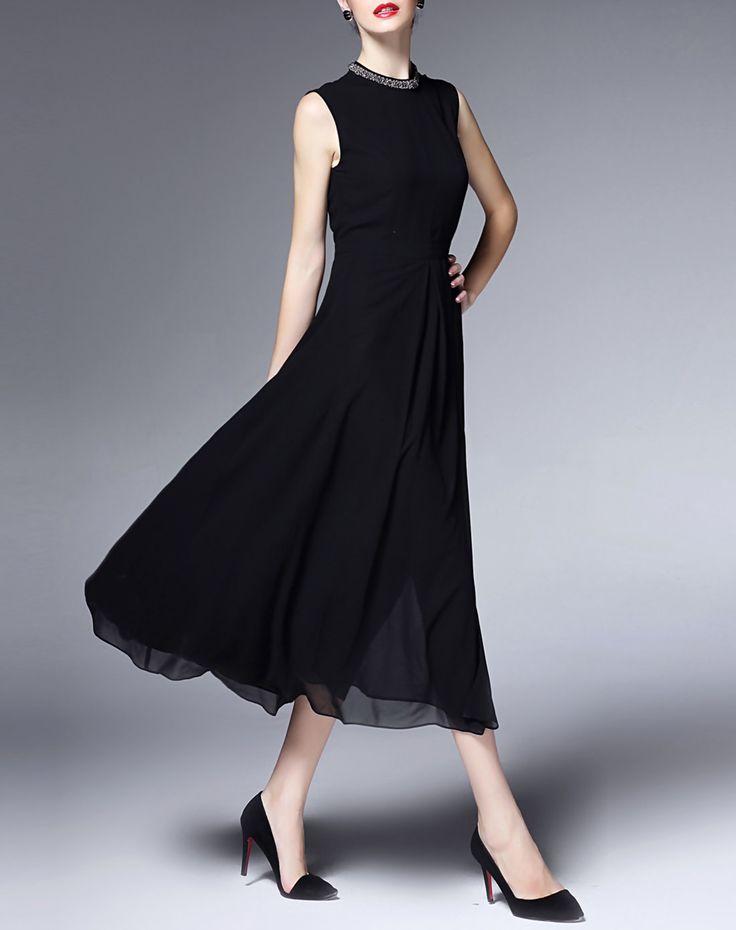 Black Beaded Chiffon Midi Dress with Split, Black, GYALWANA | VIPme