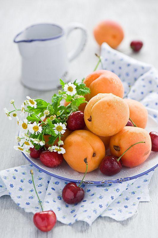 Apricots & cherries. New Zealand Summer fruits