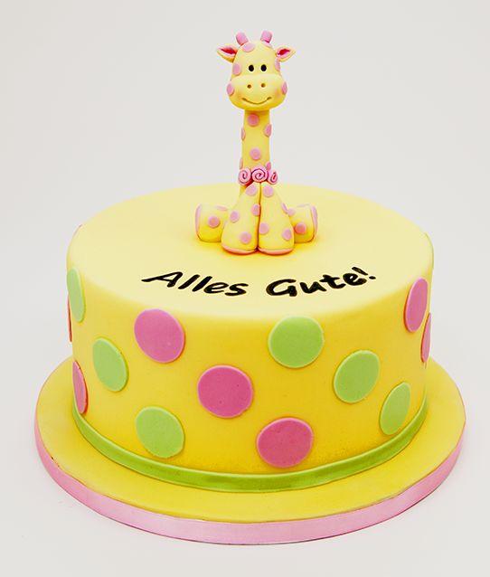 Egal ob Mädchen oder Junge – alle Kinder werden die süße Giraffe lieben. Sie sitzt auf der perfekten Schokotorte – und welches Kind mag keine Schokolade :)
