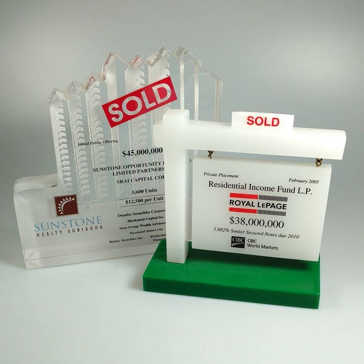 In the real estate industry, SOLD is a cherished 4-letter word. Celebrate this victorious event with a beautiful custom Lucite award.