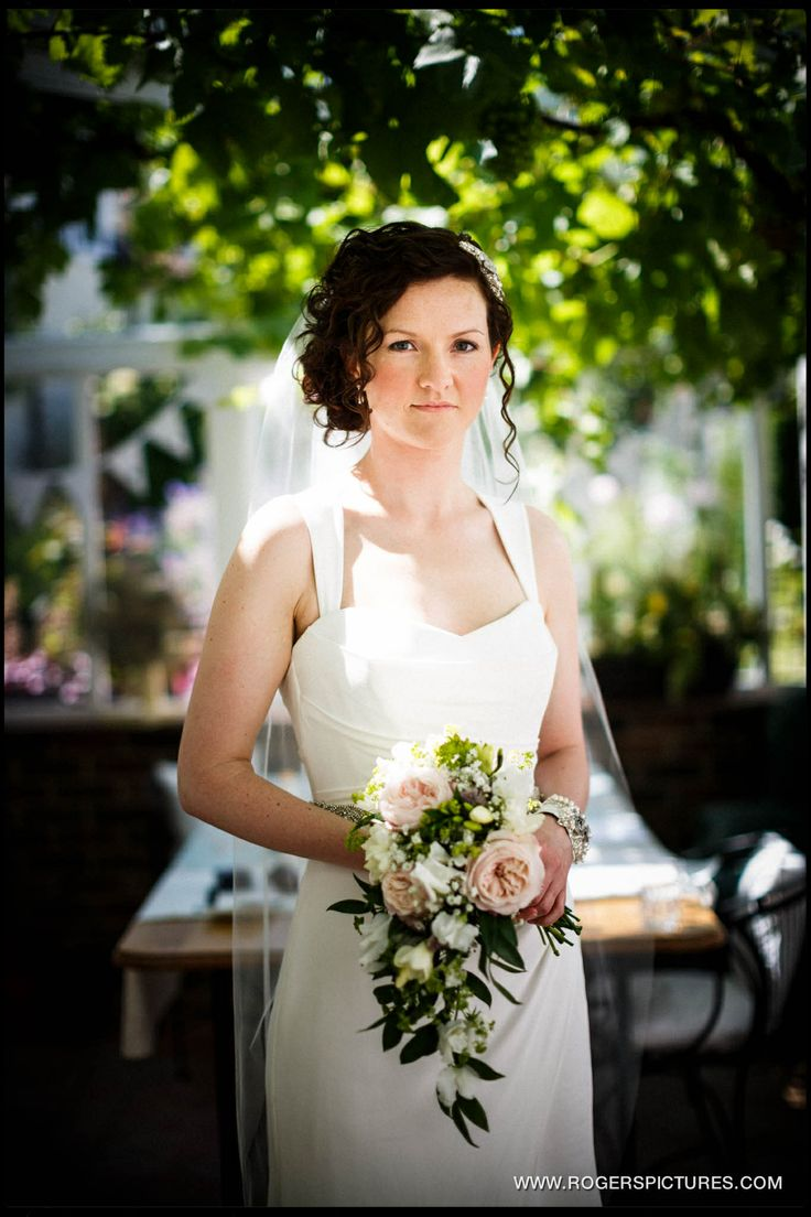 Marquee and Church Wedding in Manuden Essex portrait of the bride
