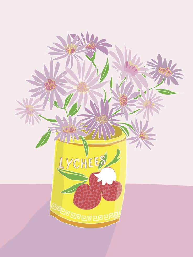 This Hey, Daisy Design greeting card features a lychee can filled with  purple daisies from my Pops garden. Even if you have eaten all the lychees,  there can still be something sweet in there.  Click the image to see the full design as printed on the card!      * 148mm x 105mm     * blank on
