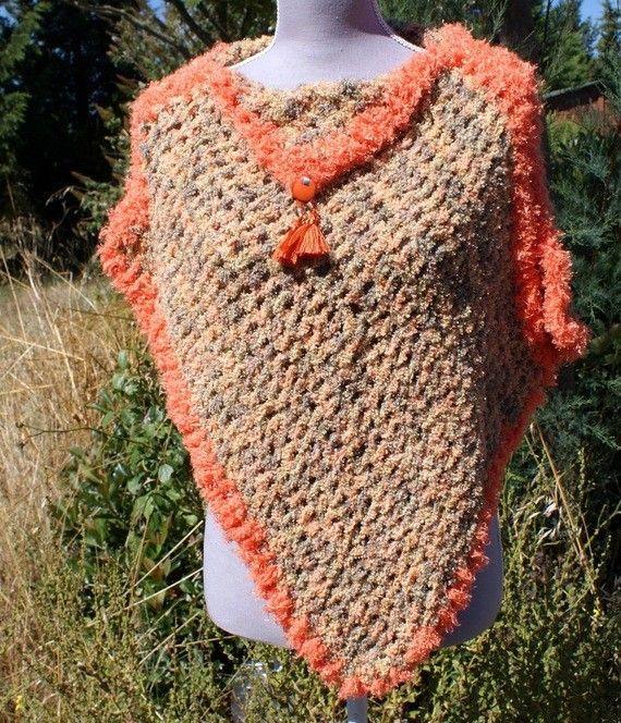 Poncho-bijou Spring lurex orange en laine acrylique