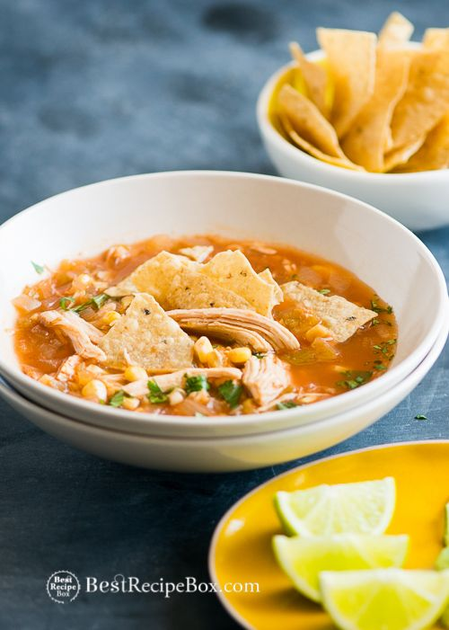 Slow Cooker Chicken Tortilla Soup // looks amazing, easy recipe, so nice to come home to after a long day #crockpot #comfort