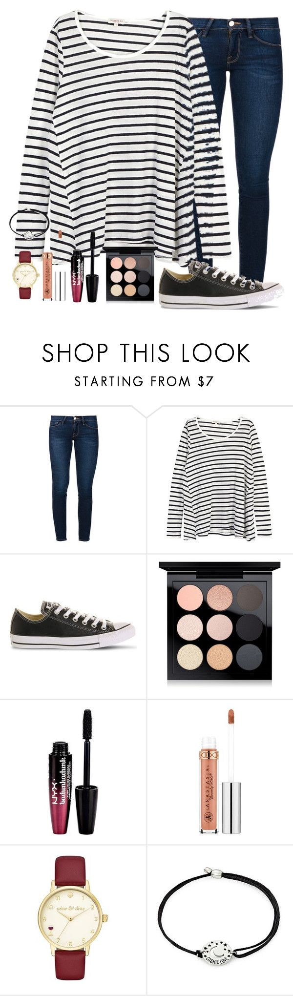 """""""I have to clean so much today😩"""" by torideckerrr ❤ liked on Polyvore featuring Frame, Demylee, Converse, MAC Cosmetics, Charlotte Russe, Anastasia Beverly Hills, Kate Spade and Alex and Ani"""