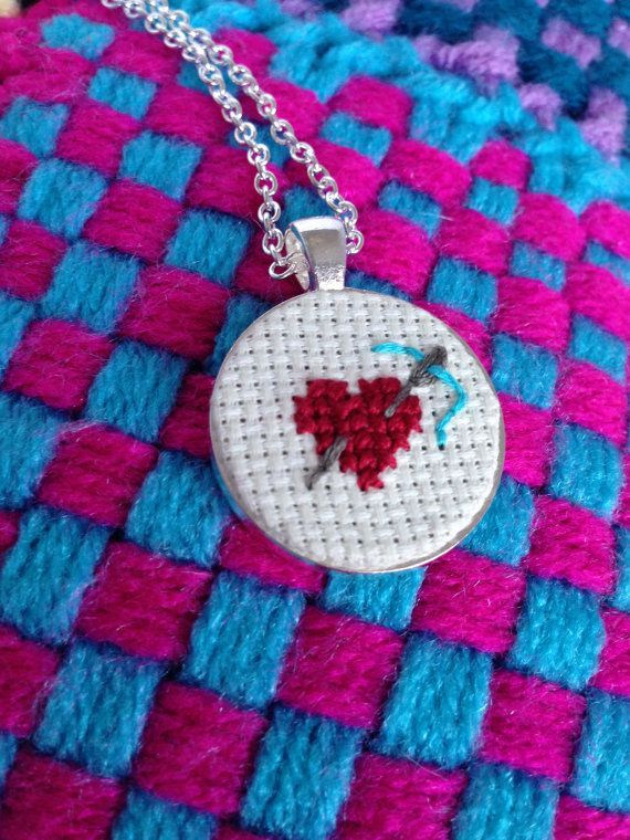 Needle through Heart Embroidered Cross by TurnerClassicCrafts, $12.50