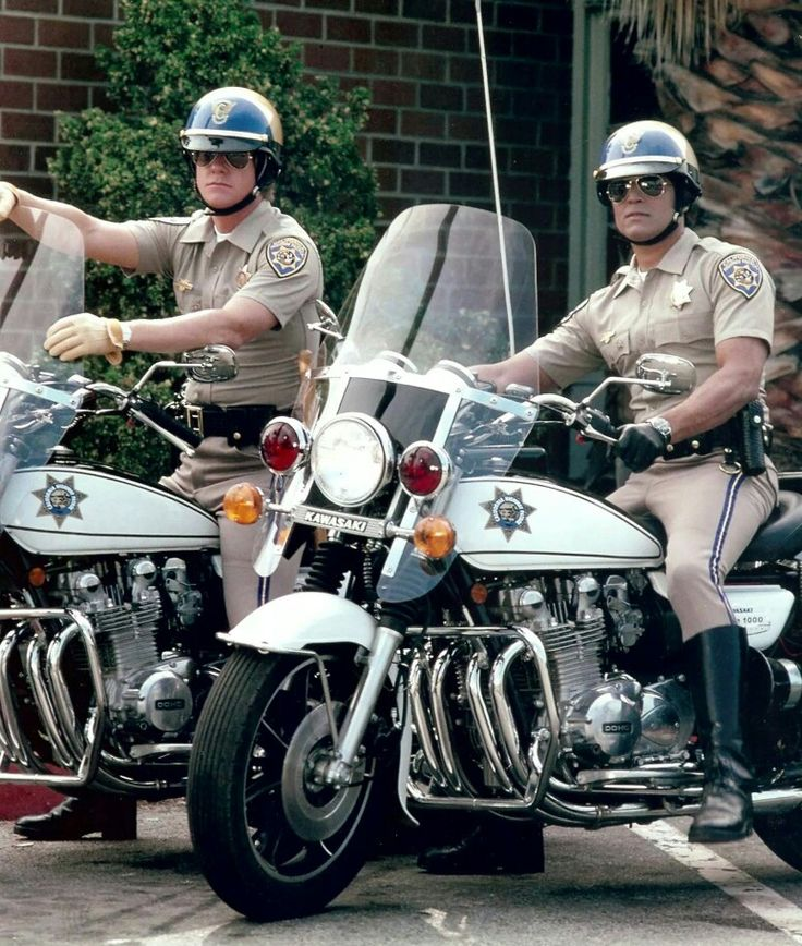 "Larry Wilcox as Jon Baker & Erik Estrada as Frank ""Ponch"" Poncherella on CHiPs."