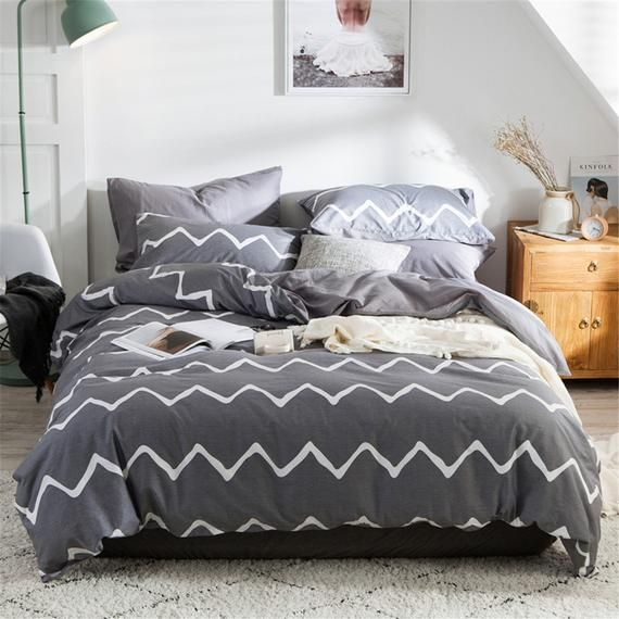 Super Soft And Warm Cotton Duvet Cover Grey Bedding Set With Etsy Duvet Covers Cotton Bedding Sets Bedding Sets Grey
