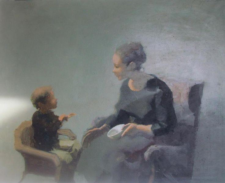 M. Stančić, Majka i dijete, ulje na platnu
