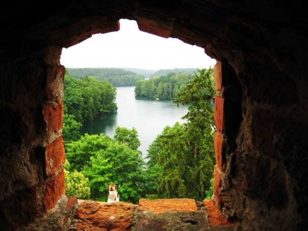 View from a castle window in Lagow, Poland!