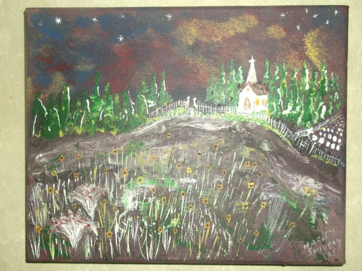 Church on Hill small painting by Harley Snively