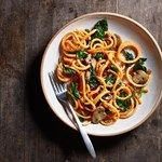"""In this healthy carbonara recipe, """"spiralized"""" sweet potato noodles take the place of traditional pasta. Kale is added for fiber, flavor and crunch, but any dark leafy green, such as spinach, chard or collards, would also be a nice addition."""
