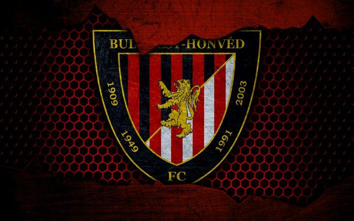 Download wallpapers Honved, 4k, logo, NB I, Hungarian Liga, soccer, football club, Hungary, grunge, metal texture, Honved FC