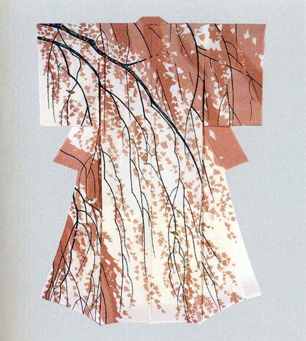Yuzen kimono by Japanese National Living Treasure, Hiroshi Tajima (1922~)