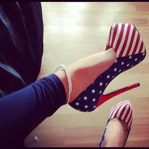 i <3 USAShoes, 4Thofjuly, American Flags, Fourth Of July, Red White Blue, Highheels, Pump, 4Th Of July, High Heels