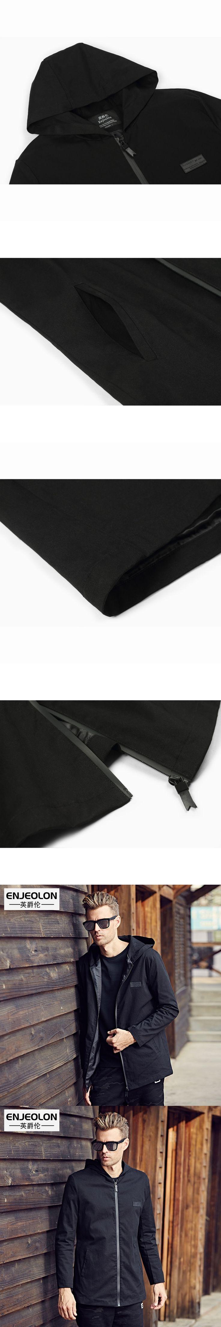 Enjeolon brand 2017 hoodies Bomber windbreaker jackets men, black solid Men casual coat,hooded Jacket Men clothes WT0516