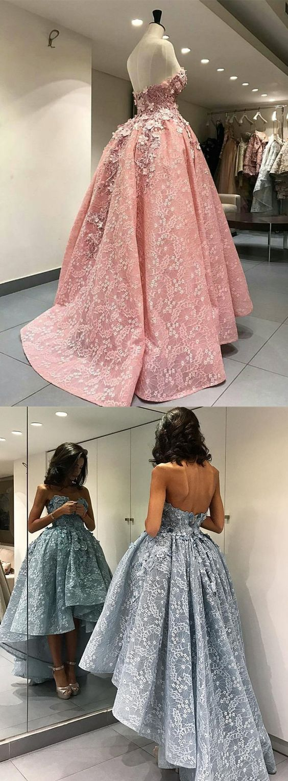 Luxury Hi-Lo Prom Dress, Fashion Flower Prom Dress,  Modern High Low Party Dress with Appliques